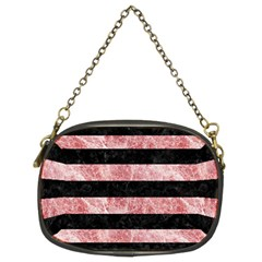 Stripes2 Black Marble & Red & White Marble Chain Purse (two Sides) by trendistuff