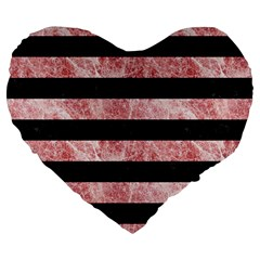 Stripes2 Black Marble & Red & White Marble Large 19  Premium Flano Heart Shape Cushion by trendistuff
