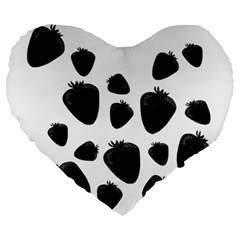 Black Strowberries Large 19  Premium Heart Shape Cushions by Valentinaart