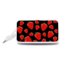 Strawberries pattern Portable Speaker (White)  by Valentinaart