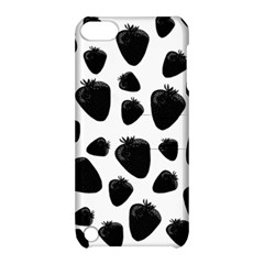 Black Strawberries Pattern Apple Ipod Touch 5 Hardshell Case With Stand by Valentinaart