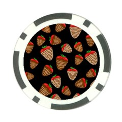 Chocolate Strawberries Pattern Poker Chip Card Guards by Valentinaart