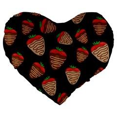 Chocolate Strawberries Pattern Large 19  Premium Heart Shape Cushions by Valentinaart