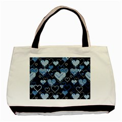Blue Harts Pattern Basic Tote Bag (two Sides) by Valentinaart