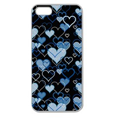 Blue Harts Pattern Apple Seamless Iphone 5 Case (clear) by Valentinaart