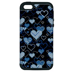 Blue Harts Pattern Apple Iphone 5 Hardshell Case (pc+silicone) by Valentinaart