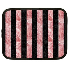 Stripes1 Black Marble & Red & White Marble Netbook Case (xl) by trendistuff