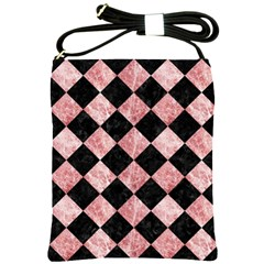 Square2 Black Marble & Red & White Marble Shoulder Sling Bag by trendistuff