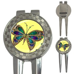 Butterfly Mosaic Yellow Colorful 3 In 1 Golf Divots by Amaryn4rt