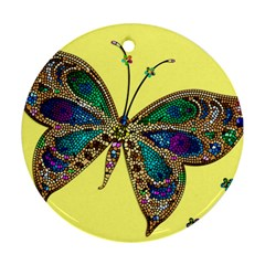 Butterfly Mosaic Yellow Colorful Round Ornament (two Sides)  by Amaryn4rt