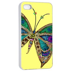 Butterfly Mosaic Yellow Colorful Apple Iphone 4/4s Seamless Case (white) by Amaryn4rt