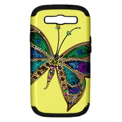 Butterfly Mosaic Yellow Colorful Samsung Galaxy S Iii Hardshell Case (pc+silicone)