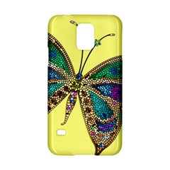 Butterfly Mosaic Yellow Colorful Samsung Galaxy S5 Hardshell Case  by Amaryn4rt