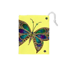 Butterfly Mosaic Yellow Colorful Drawstring Pouches (small)  by Amaryn4rt