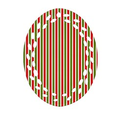 Pattern Background Red White Green Oval Filigree Ornament (2 Side)  by Amaryn4rt