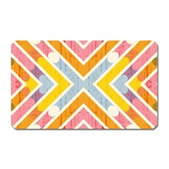 Line Pattern Cross Print Repeat Magnet (rectangular) by Amaryn4rt