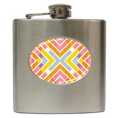 Line Pattern Cross Print Repeat Hip Flask (6 Oz) by Amaryn4rt