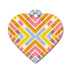 Line Pattern Cross Print Repeat Dog Tag Heart (two Sides) by Amaryn4rt