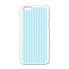 Stripes Striped Turquoise Apple Iphone 6/6s White Enamel Case by Amaryn4rt