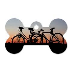 Bicycles Wheel Sunset Love Romance Dog Tag Bone (one Side)