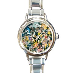 Art Graffiti Abstract Vintage Lines Round Italian Charm Watch by Amaryn4rt