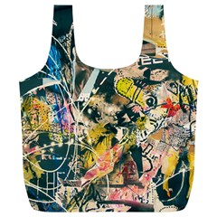 Art Graffiti Abstract Vintage Lines Full Print Recycle Bags (l)  by Amaryn4rt