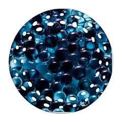 Blue Abstract Balls Spheres Round Filigree Ornament (2side)