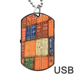 Blue White Orange And Brown Container Van Dog Tag Usb Flash (two Sides)  by Amaryn4rt