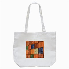 Blue White Orange And Brown Container Van Tote Bag (white) by Amaryn4rt