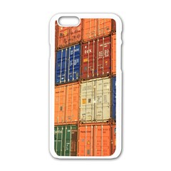 Blue White Orange And Brown Container Van Apple Iphone 6/6s White Enamel Case by Amaryn4rt