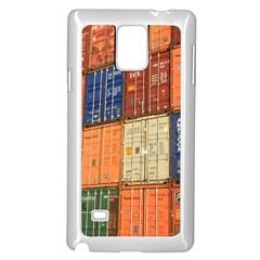 Blue White Orange And Brown Container Van Samsung Galaxy Note 4 Case (white) by Amaryn4rt