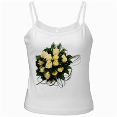 Bouquet Flowers Roses Decoration White Spaghetti Tank by Amaryn4rt