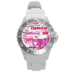 Coffee Cup Lettering Coffee Cup Round Plastic Sport Watch (l) by Amaryn4rt