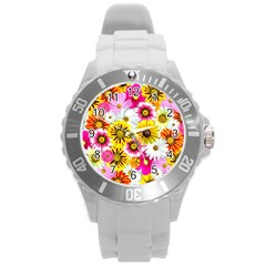 Flowers Blossom Bloom Nature Plant Round Plastic Sport Watch (l) by Amaryn4rt