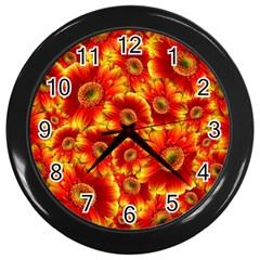 Gerbera Flowers Blossom Bloom Wall Clocks (black) by Amaryn4rt