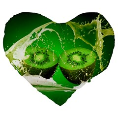 Kiwi Fruit Vitamins Healthy Cut Large 19  Premium Heart Shape Cushions by Amaryn4rt