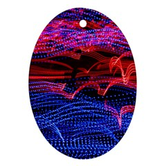 Lights Abstract Curves Long Exposure Oval Ornament (two Sides) by Amaryn4rt