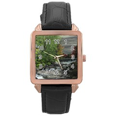 Landscape Summer Fall Colors Mill Rose Gold Leather Watch  by Amaryn4rt