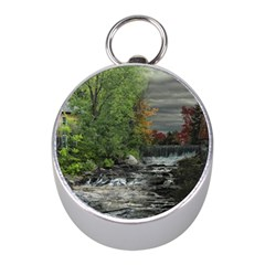 Landscape Summer Fall Colors Mill Mini Silver Compasses by Amaryn4rt