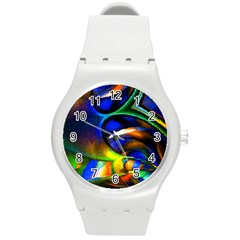 Light Texture Abstract Background Round Plastic Sport Watch (m) by Amaryn4rt
