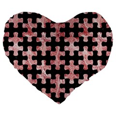 Puzzle1 Black Marble & Red & White Marble Large 19  Premium Flano Heart Shape Cushion by trendistuff