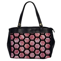 Hexagon2 Black Marble & Red & White Marble (r) Oversize Office Handbag by trendistuff