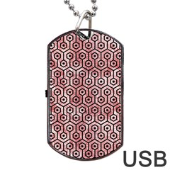 Hexagon1 Black Marble & Red & White Marble (r) Dog Tag Usb Flash (one Side) by trendistuff