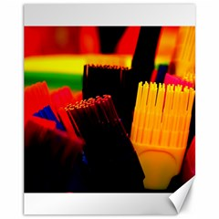 Plastic Brush Color Yellow Red Canvas 11  X 14   by Amaryn4rt