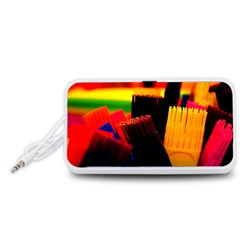 Plastic Brush Color Yellow Red Portable Speaker (white)  by Amaryn4rt