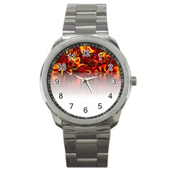 Effect Pattern Brush Red Sport Metal Watch by Amaryn4rt