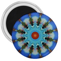 Pattern Blue Brown Background 3  Magnets by Amaryn4rt