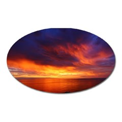 Sunset The Pacific Ocean Evening Oval Magnet by Amaryn4rt