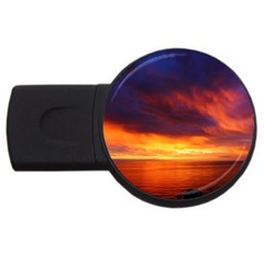 Sunset The Pacific Ocean Evening Usb Flash Drive Round (2 Gb)  by Amaryn4rt