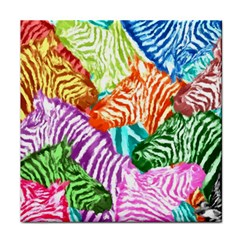 Zebra Colorful Abstract Collage Tile Coasters by Amaryn4rt